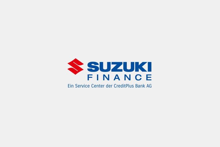 Schriftzug Suzuki Finance, Ein Service Center der CreditPlus Bank AG.