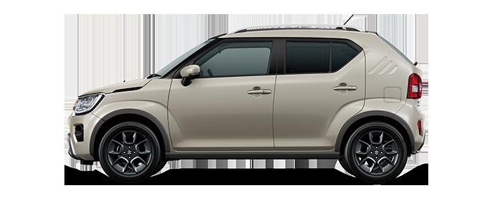 Von der Seite fotografierter Suzuki Ignis Hybrid in Caravan Ivory Pearl Metallic.