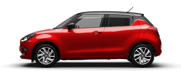 Von der Seite fotografierter Suzuki Swift Hybrid in Burning Red Pearl Metallic..