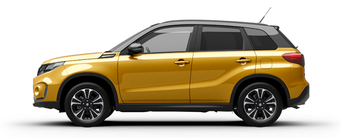 Seitliche Aufnahme eines Suzuki Vitara Hybrid in Solar Yellow Pearl Metallic.