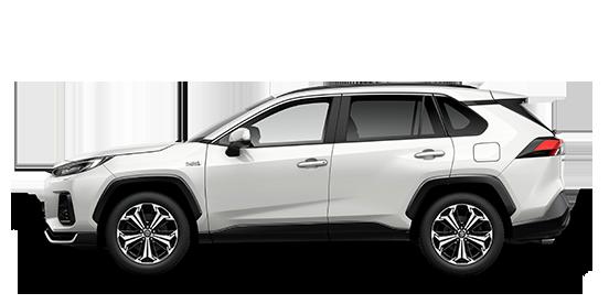 Seitlich fotografierter Suzuki Across Plug-in Hybrid in White Pearl Cristal Shine.
