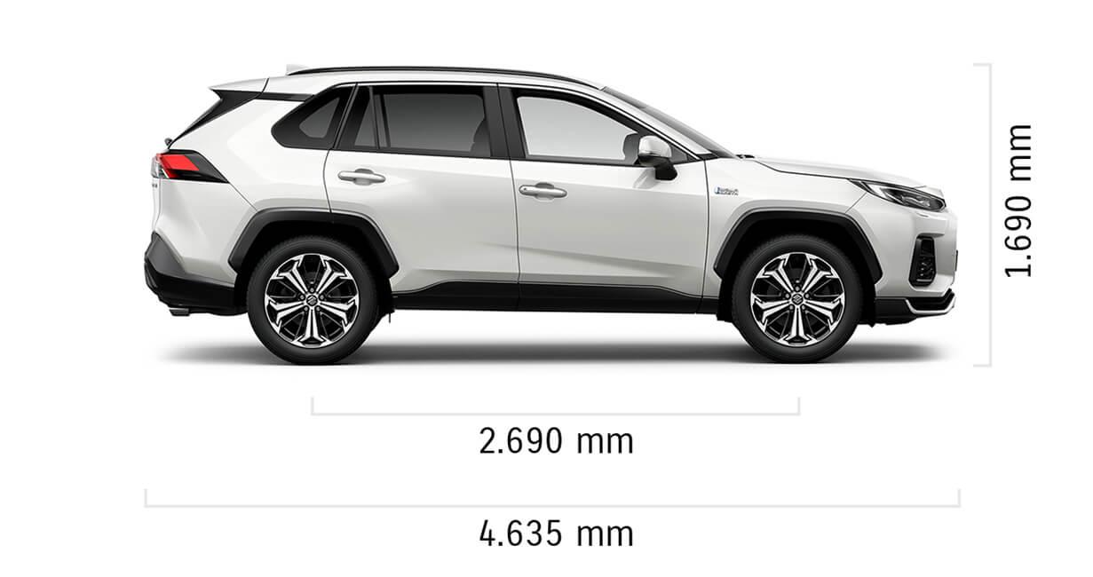 Seitlich fotografierter Suzuki Across Hybrid in White Pearl Cristal Shine Metallic mit Abmessungen von Länge und Höhe in mm.