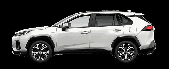 Seitlich fotografierter Suzuki Across Plug-in Hybrid in White Pearl Cristal Shine vor weißem Hintergrund