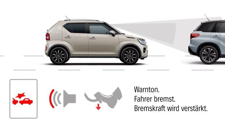 Grafik zur Dual-Sensor gestützten aktiven Bremsunterstützung (DSBS) im Suzuki Ignis Hybrid.