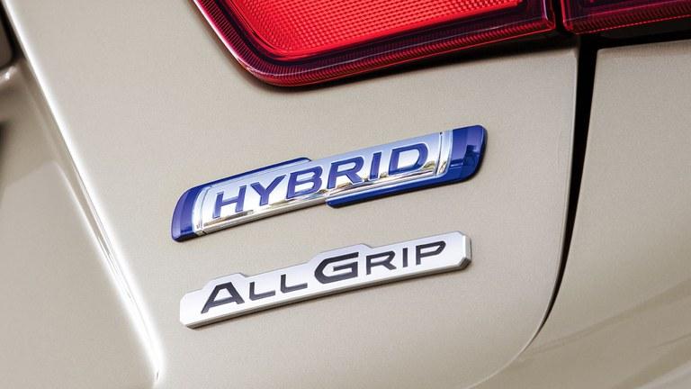 Detailaufnahme des Hybrid Schildes außen an einem Suzuki Hybrid Model.