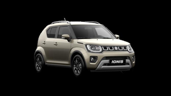 Seitlich von vorne fotografierter Suzuki Ignis Hybrid in Caravan Ivory Pearl Metallic.