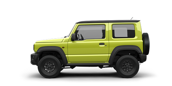 Seitenansicht des Suzuki Jimny in Kinetic Yellow.