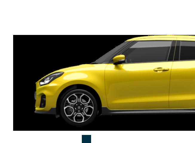 Von der Seite fotografierter Suzuki Swift Sport Hybrid in Champion Yellow.