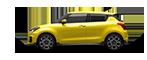 Seitenansicht des Suzuki Swfit Sport Hybrid in Champion Yellow.