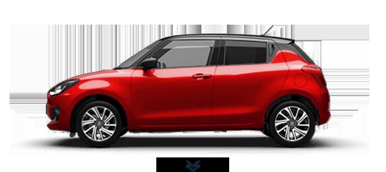 Seitenansicht des Suzuki Swift Hybrid in Burning Red Pearl Metallic.