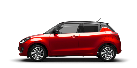 Von der Seite fotografierter Suzuki Swift Hybrid in Burning Red Pearl Metallic.