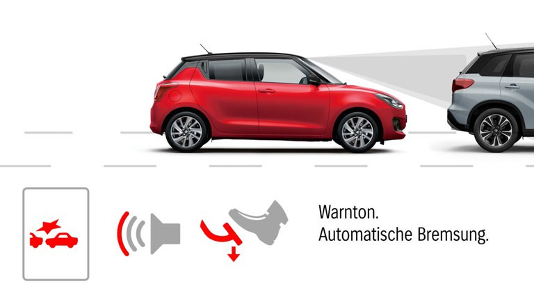 Grafik zur Dual-Sensor gestützten aktiven Bremsunterstützung (DSBS) im Suzuki Swift Hybrid