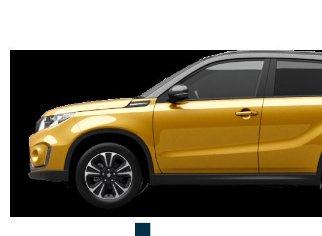 Von der Seite fotografierter Suzuki Vitara Hybrid in Solar Yellow Pearl Metallic.
