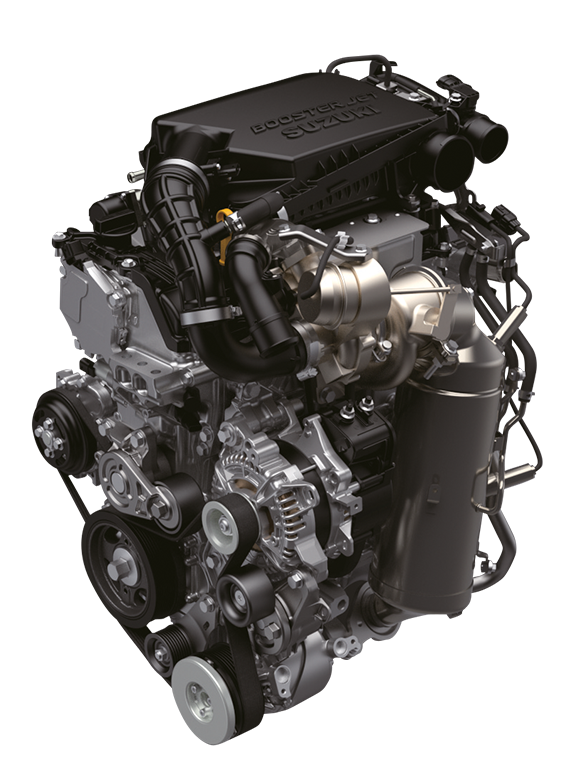 Ansicht des Suzuki Vitara Hybrid 1.4 Liter Boosterjet Motors mit 48V Mild-Hybrid System.