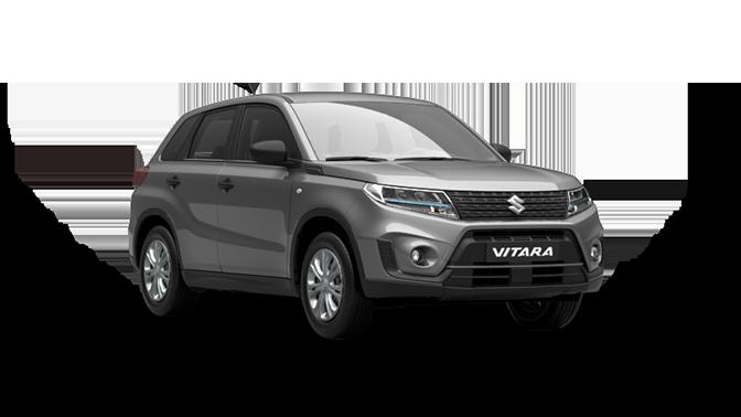 Ein Suzuki Vitara Hybrid in Cosmic Black Pearl Metallic leicht seitlich fotografiert.