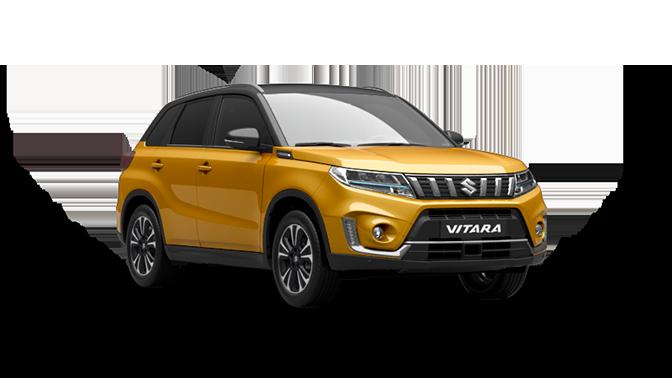 Ein Suzuki Vitara Hybrid in Solar Yellow Pearl Metallic leicht seitlich fotografiert.