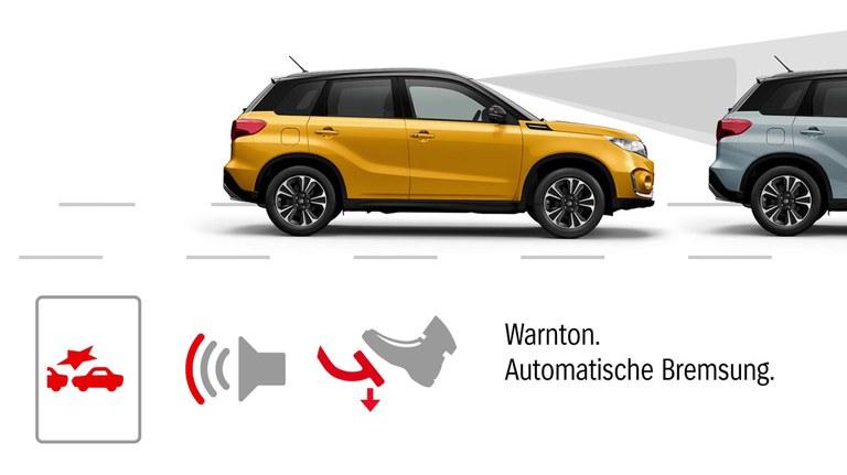 Grafik zur Dual-Sensor gestützten aktiven Bremsunterstützung (DSBS) im Suzuki Vitara Hybrid.