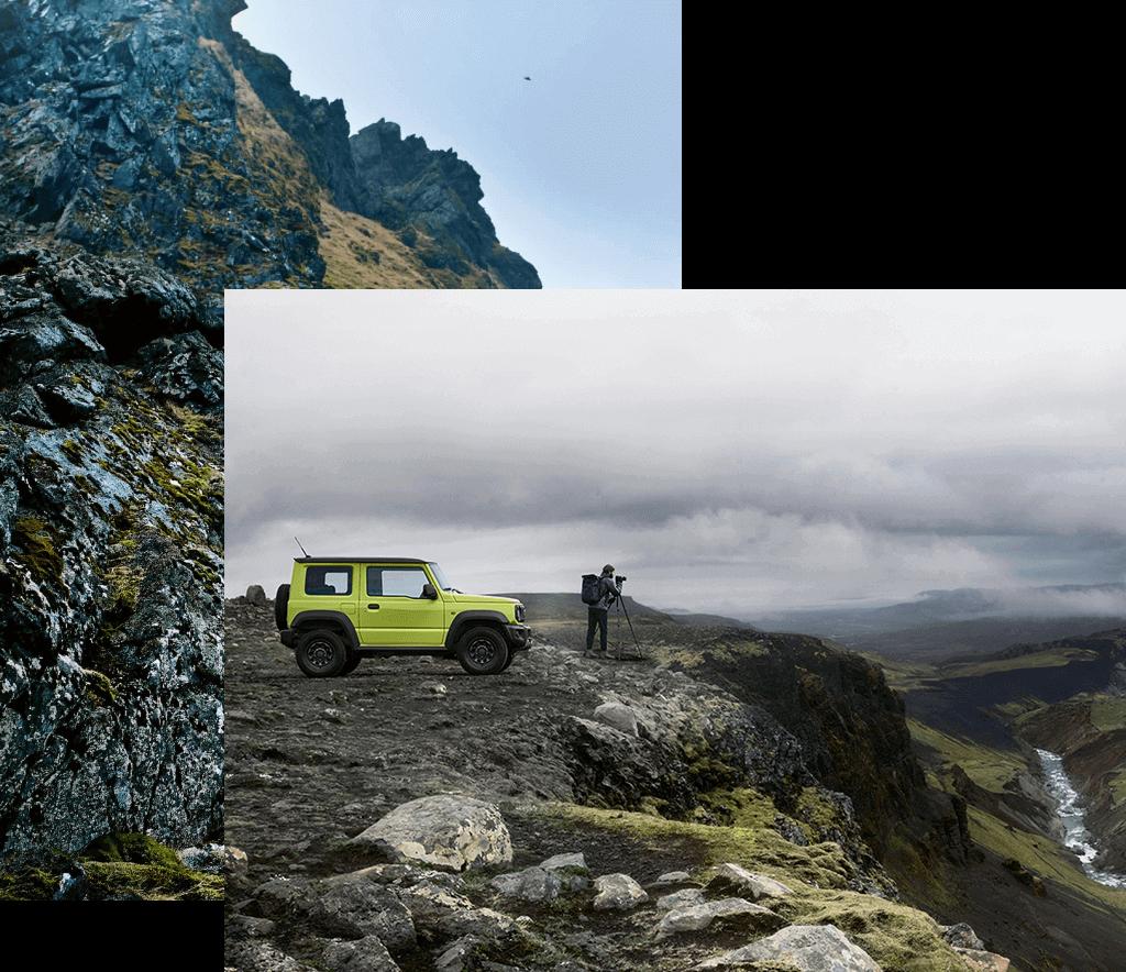 Suzuki Jimny Hybrid in Kinetic Yellow vor dem ein Mann steht, steht an einer Klippe.